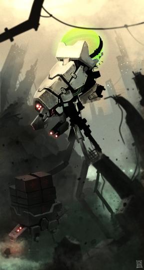 Titulo: rescue in bizarre planet 2012 Nova ótica: Máquinas médicas procuram por sobreviventes em universo pós-apocaliptico.